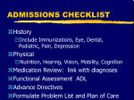 admissions checklist