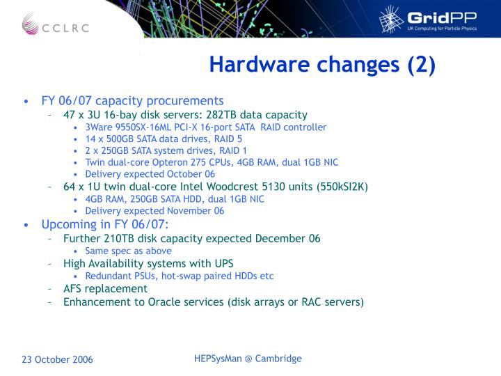 Hardware changes (2)