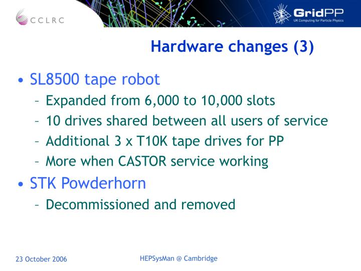 Hardware changes (3)