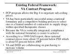 existing federal framework va contract program