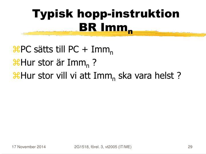 Typisk hopp-instruktion