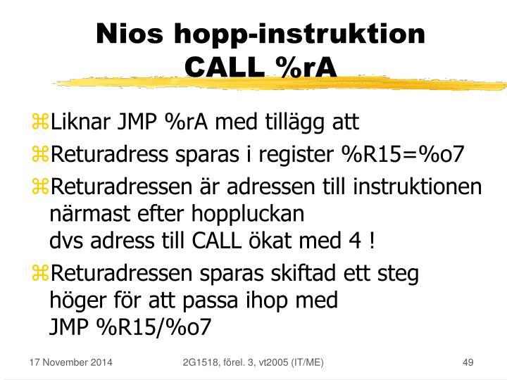 Nios hopp-instruktion