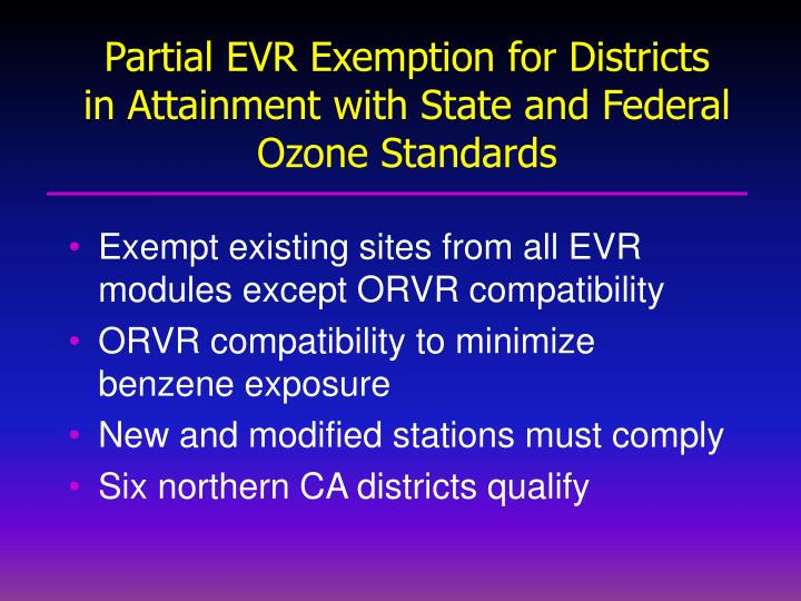 Partial EVR Exemption for Districts