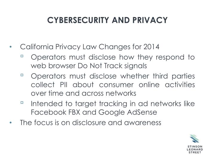 Cybersecurity and privacy1