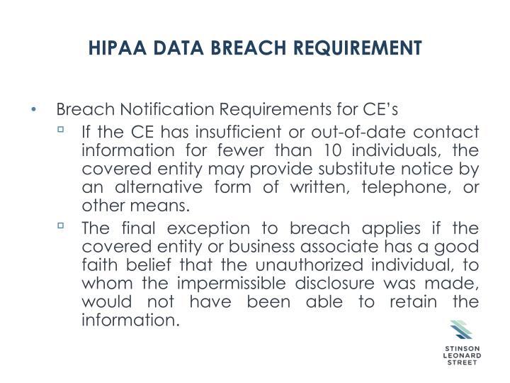 HIPAA Data Breach Requirement