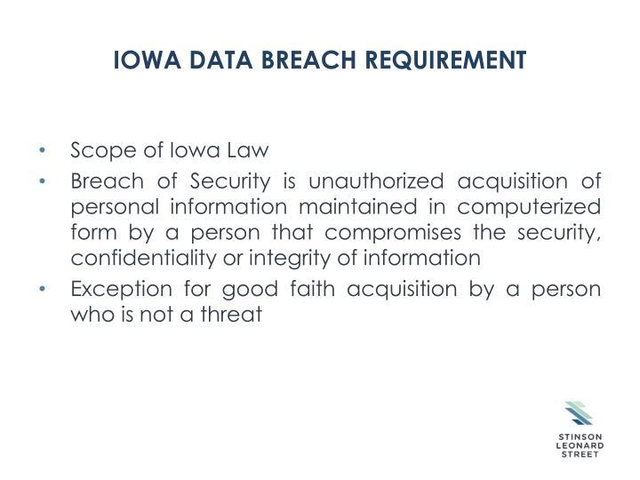 IOWA Data Breach Requirement