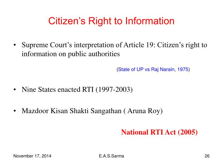 Citizen's Right to Information