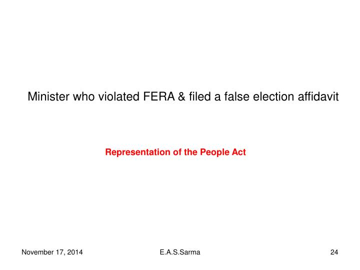 Minister who violated FERA & filed a false election affidavit