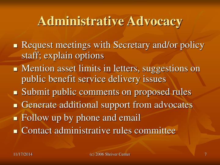 Administrative Advocacy