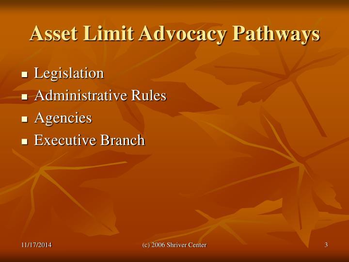 Asset limit advocacy pathways