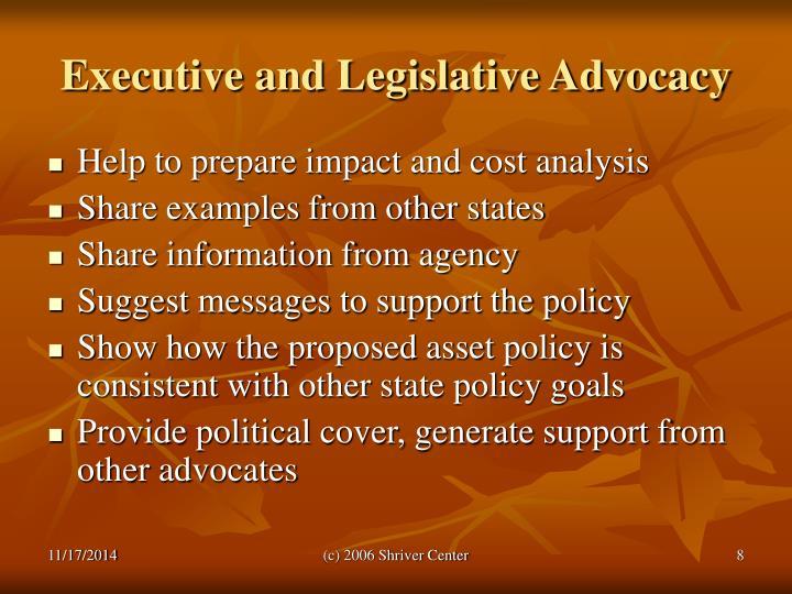 Executive and Legislative Advocacy