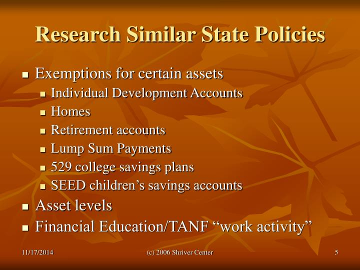 Research Similar State Policies