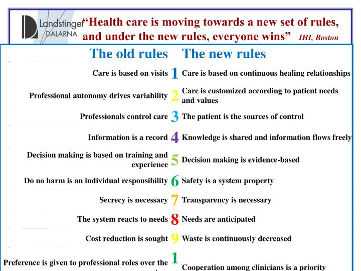 """Health care is moving towards a new set of rules, and under the new rules, everyone wins"""