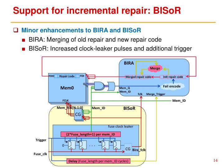 Support for incremental repair: BISoR