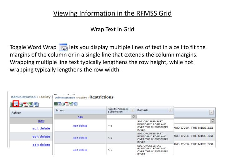 Viewing Information in the RFMSS Grid