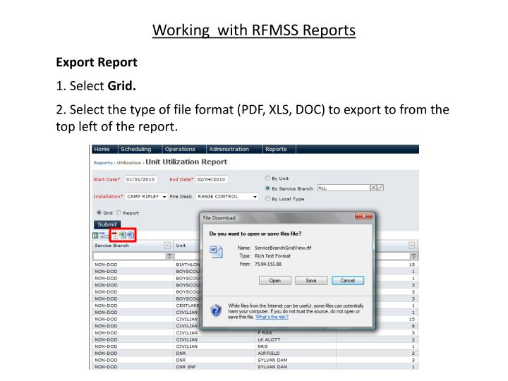 Working  with RFMSS Reports