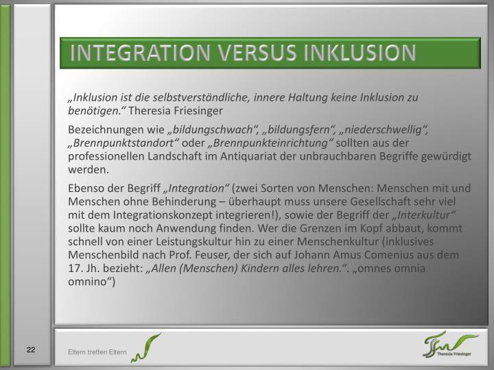 INTEGRATION VERSUS INKLUSION
