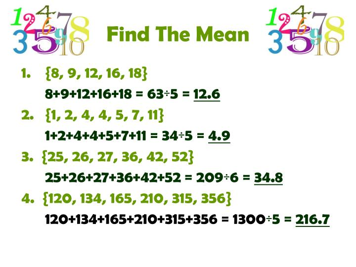 Find The Mean