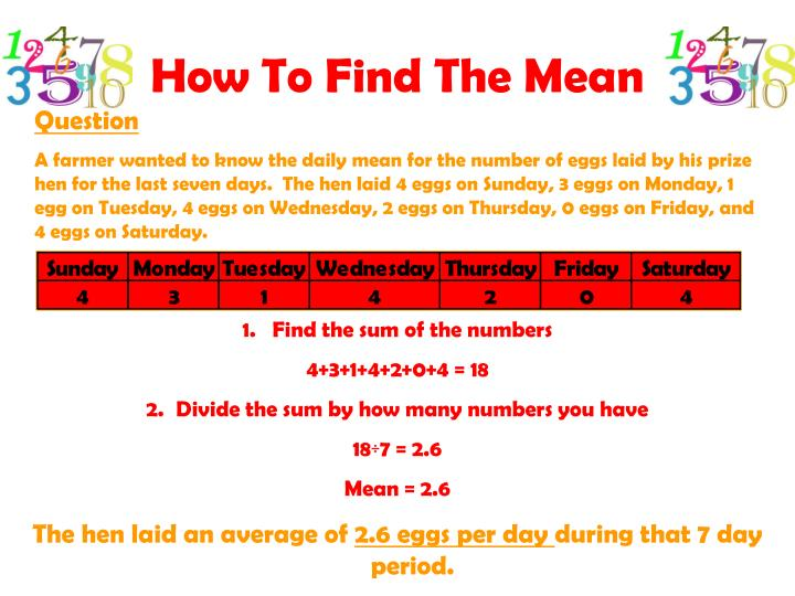 How To Find The Mean