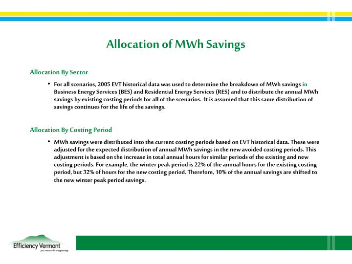 Allocation of MWh Savings