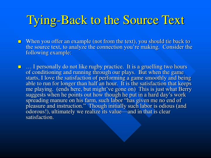 Tying-Back to the Source Text