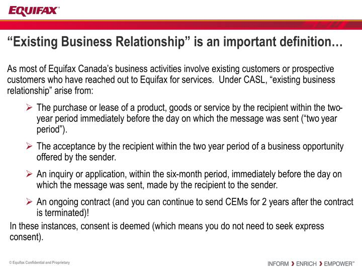existing business relationship casl raleigh