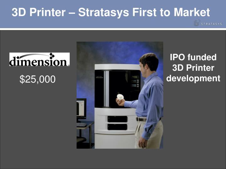 3D Printer – Stratasys First to Market