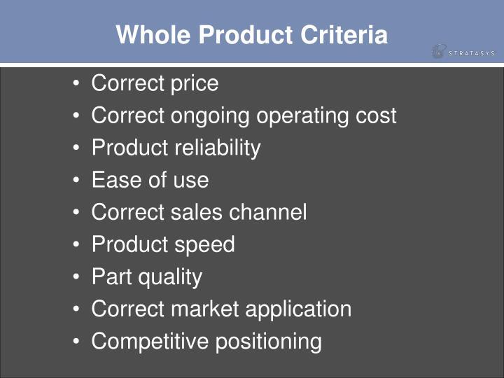 Whole Product Criteria