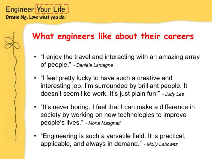 What engineers like about their careers