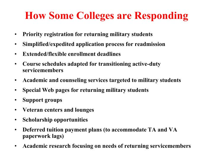 How Some Colleges are Responding