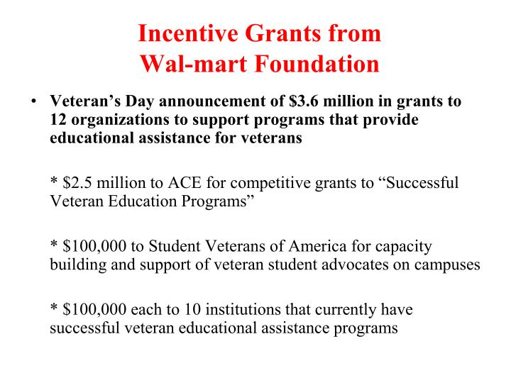 Incentive Grants from