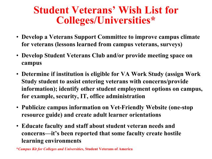 Student Veterans' Wish List for Colleges/Universities*