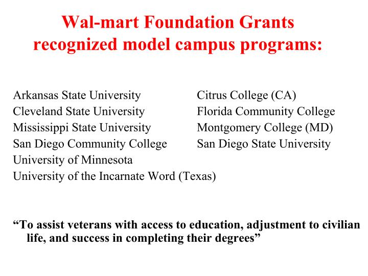 Wal-mart Foundation Grants