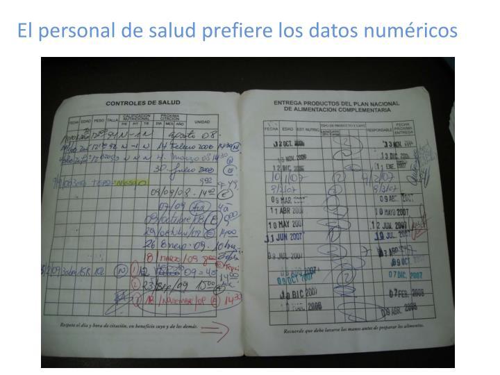 El personal de salud prefiere los datos numéricos