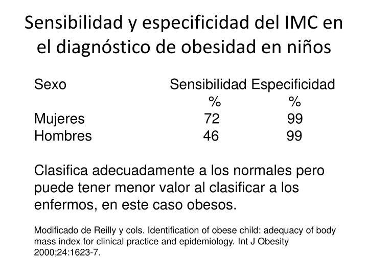 Sensibilidad y especificidad del IMC en el diagnóstico de obesidad en niños