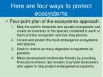 here are four ways to protect ecosystems