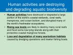 human activities are destroying and degrading aquatic biodiversity