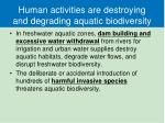 human activities are destroying and degrading aquatic biodiversity1