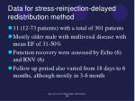 data for stress reinjection delayed redistribution method