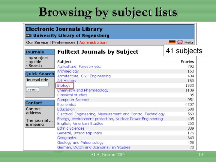 Browsing by subject lists