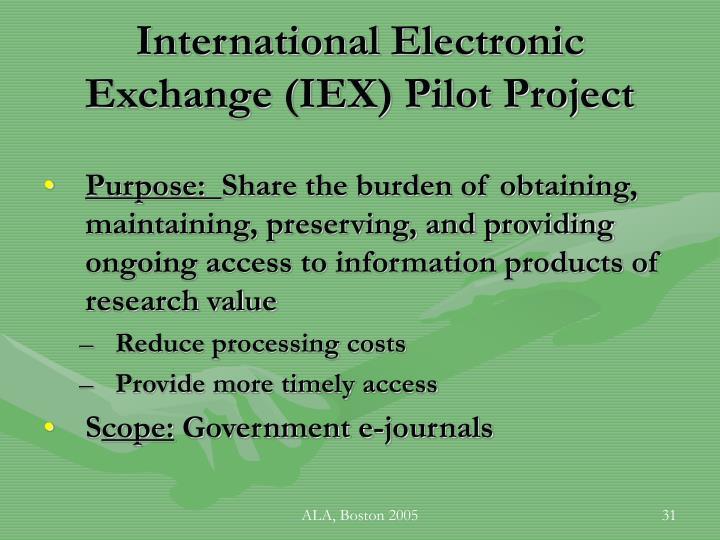 International Electronic Exchange (IEX) Pilot Project