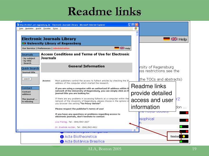 Readme links