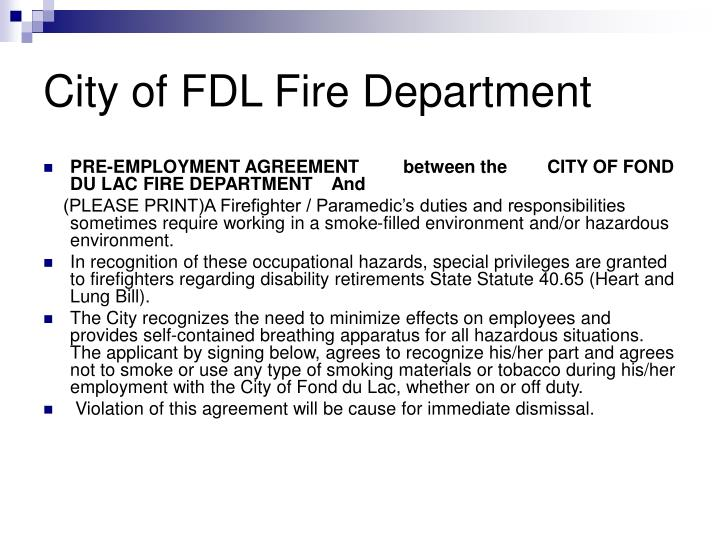 City of FDL Fire Department