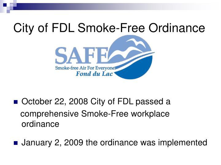 City of FDL Smoke-Free Ordinance