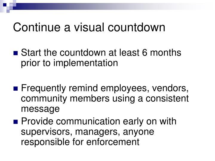Continue a visual countdown
