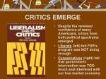 critics emerge