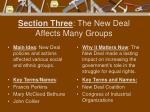 section three the new deal affects many groups