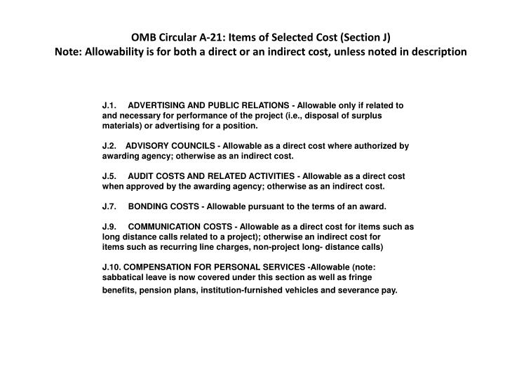 OMB Circular A-21: Items of Selected Cost (Section J)