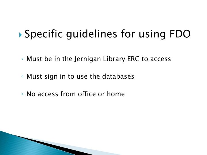 Specific guidelines for using FDO