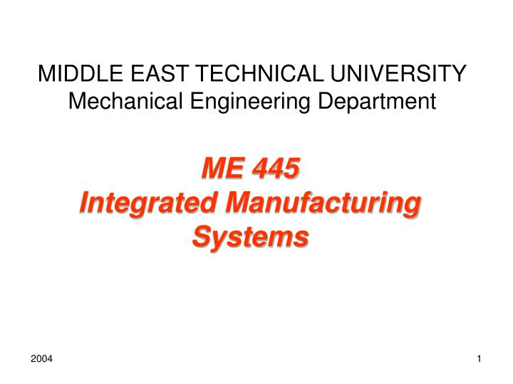 middle east technical university mechanical engineering department n.